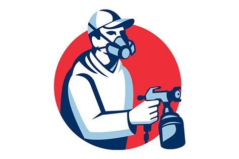 spray painter logo spray painter spraying paint gun ret illustrations