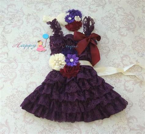 Set Flowery Dress ivory purple plum lace dress set flower dress