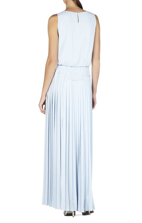 bcbgmaxazria jenine high slit pleated skirt maxi dress in