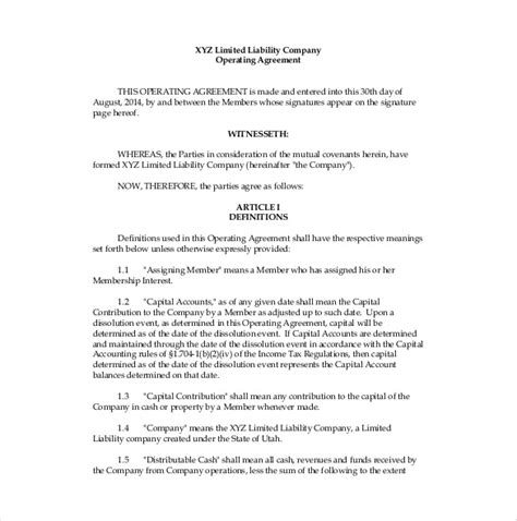 operating agreement template 10 free word pdf document