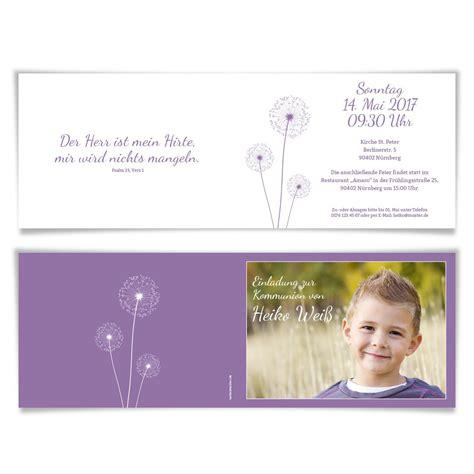 einladungskarten lila einladungskarten kommunion pusteblume in lila