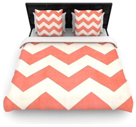 coral chevron bedding ann barnes quot vintage coral quot orange chevron cotton duvet