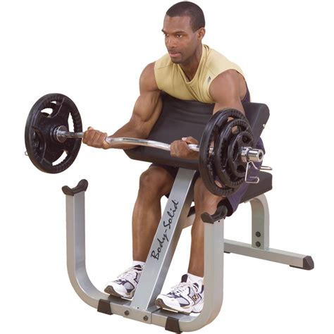 bicep curl with bench press bodysolid freeweight preacher curl bench gpcb329 orbit