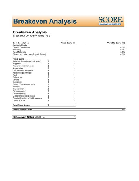 free even analysis template breakeven analysis free