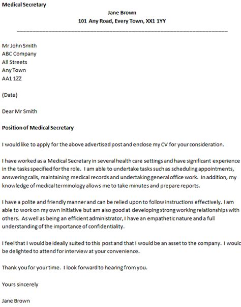 cover letter for a medical secretary icover org uk