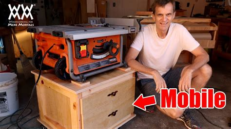mobile tablesaw cart woodworking shop project youtube