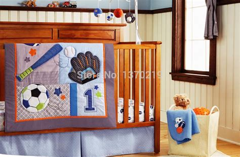 Baby Boy Crib Bedding Sports New Embroidered Base Sports Boy Baby Cot Crib Bedding Set 5 Items Includes Quilt Bumper