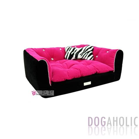 pink dog bed pretty pet rectangle velvet counch bed in black hot pink