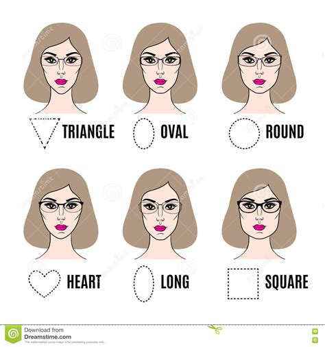 glasses shapes   face types vector