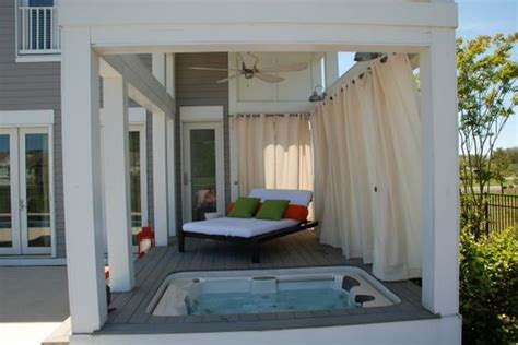 hot tub privacy curtains hmmm curtains to afford privacy to a spa maybe we could