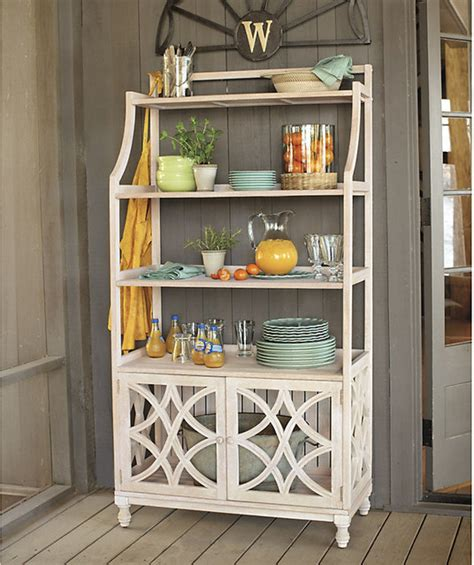 Bakers Rack With Storage Cabinets by Ceylon Whitewash Baker S Rack Traditional Towel Racks