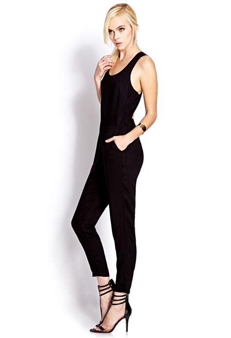 Jumpsuit Forever21 lyst forever 21 posh jumpsuit in black