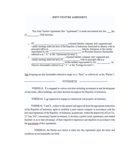 Sle Joint Venture Agreements Oursearchworld Com Sba Joint Venture Agreement Template