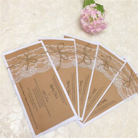 Wedding Invitation Card Paper by 2018 Rustic Wedding Invitation Set Country Wedding Kraft