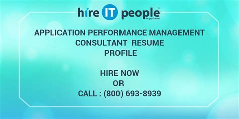 Tn Visa Management Consultant Mba by Application Performance Management Consultant Resume