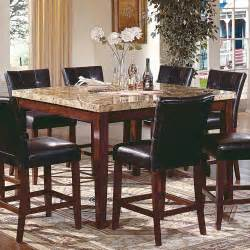 High Top Dining Table With 8 Chairs Square High Granite Top Dining Table And 8 Leather Upholstered Chairs With Backs Set Decofurnish