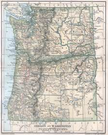 1891 map oregon and washington countytowns cities