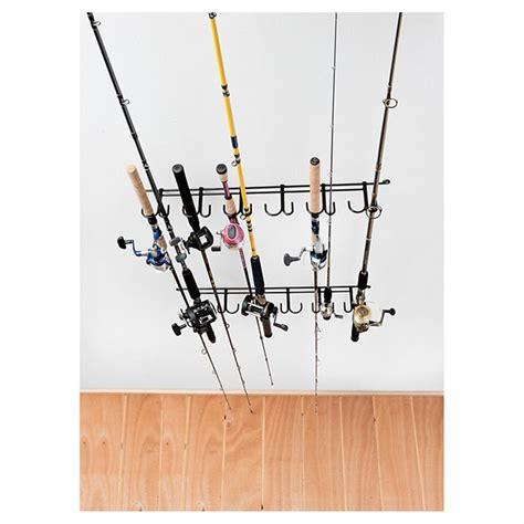 Fishing Pole Rack by Rack Em 7009 Overhead 12 Rod Fishing Rod Rack 229611