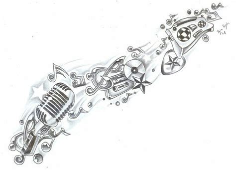 stereo tattoo designs sleeve idea replace mic with trumpet and