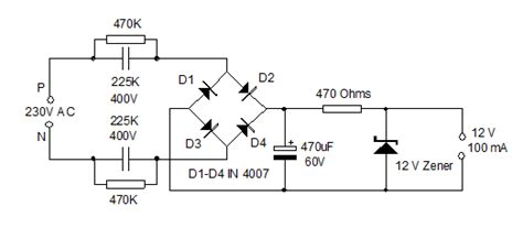 capacitor drop power supply circuit diagram for smart capacitor power supply