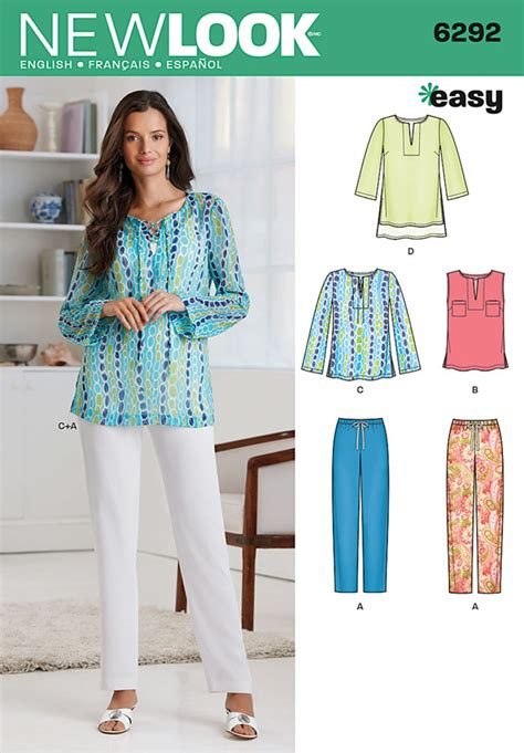 sewing pattern ladies trousers new look 6292 women s tunic or top and pull on trousers