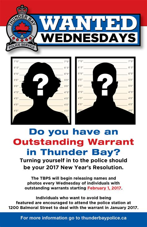 bench warrant ontario wanted wednesday thunder bay service