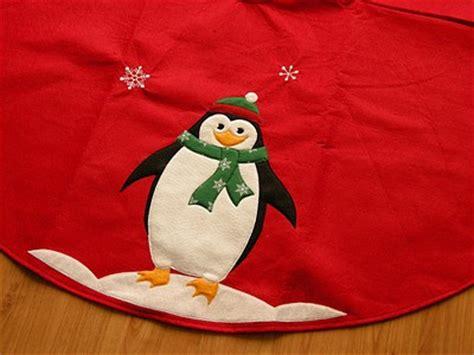 penguin tree skirt 31 quot felt embroidered penguin applique tree skirt patterns appliq patterns