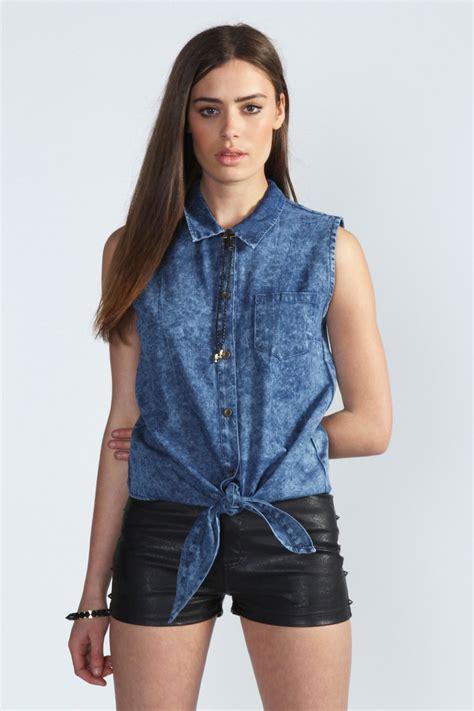 Denim Blouse boohoo danika wash tie front denim shirt in blue ebay