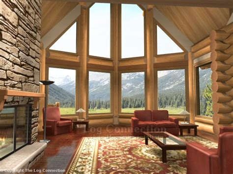 vaulted great room monashee log home pictures