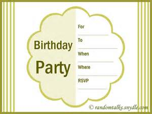 free printable birthday invitations random talks