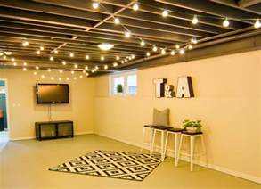 Hang String Lights Unfinished Basement Ideas 9 Unfinished Basement Floor Ideas