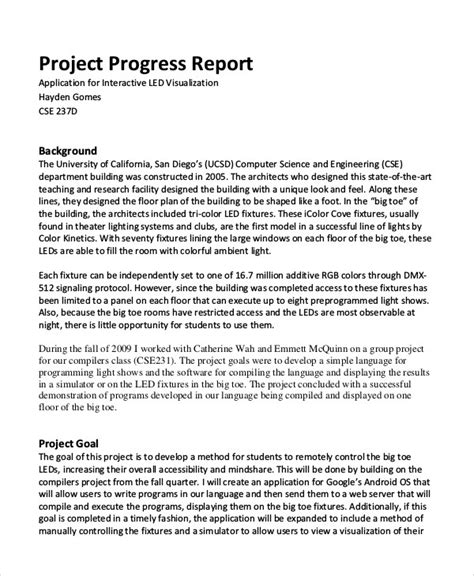 sle of progress report writing project report exle pdf gratitude41117