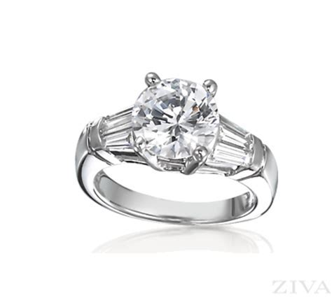 Large Diamond Ring Setting with Tapered Baguette Sides