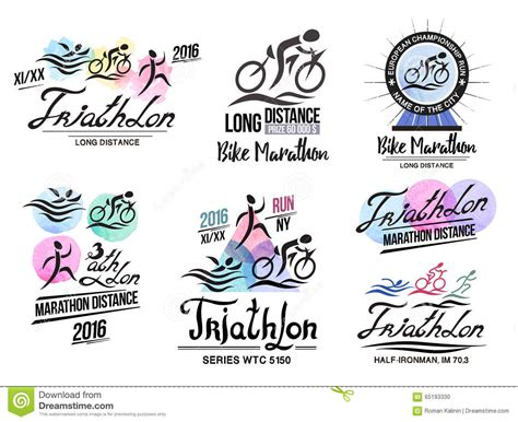 triathlon logo sports logo with elements of calligraphy