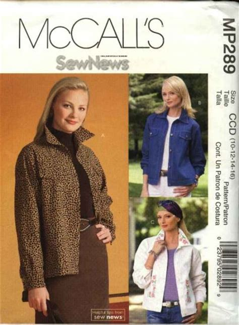 pattern for blue jean jacket mccall s sewing pattern p289 mp289 misses size 10 16