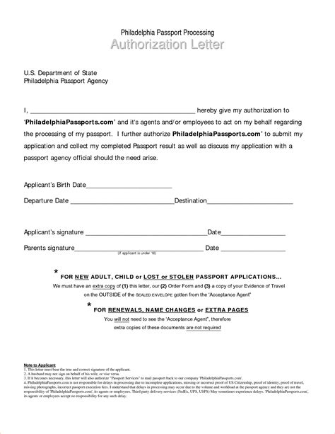 Authorization Letter To Get Passport 8 Authorization Letter For Passport Procedure Template