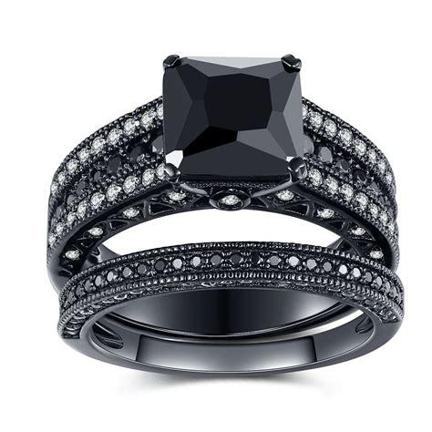 black 925 sterling silver black princess cut engagement