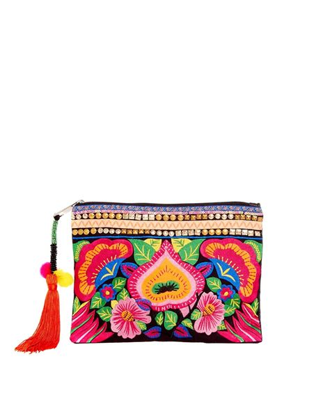 Floral Embroidered Clutch asos bright floral embroidered clutch bag in multicolor