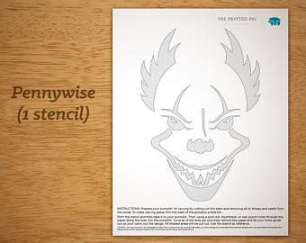 printable pumpkin stencils pennywise etsy your place to buy and sell all things handmade