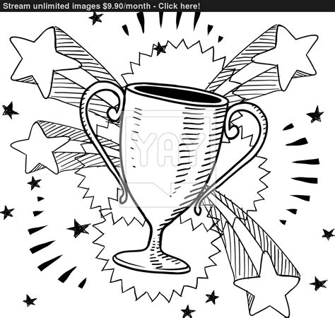 doodle trophies trophy sketch vector yayimages