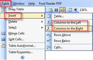 word insert rows and columns into a table in word