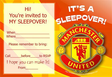 invitation design manchester invitations for sleepover party manchester united and