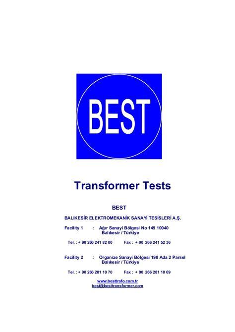 best transformers best transformer test procedures en