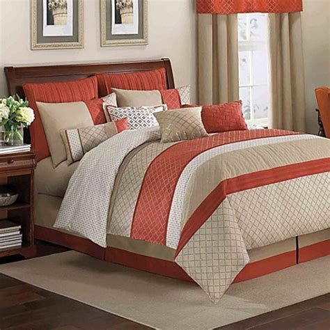 bed bat beyond royal heritage home 174 pelham comforter set in orange bed