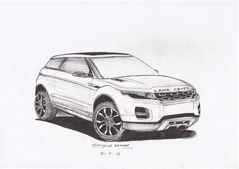 land rover drawing land rover range rover evoque ball point sketch by 09sazid