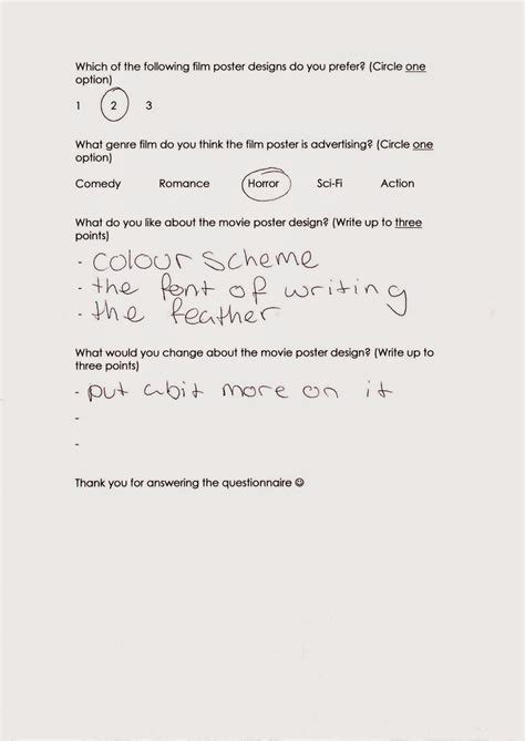poster design questionnaire rosie lines a level media studies final poster design