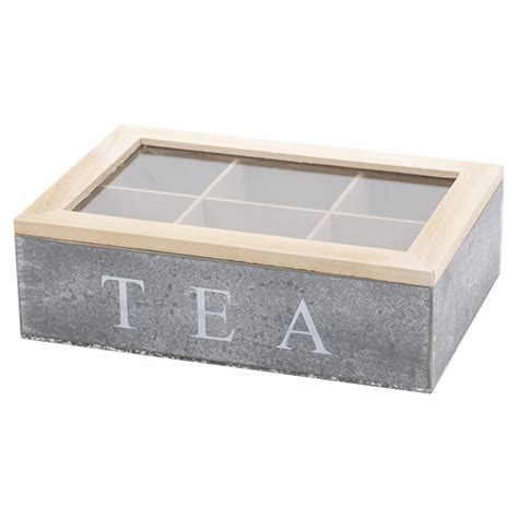 washed wood box l 6 section grey wooden tea box chalk glass hinged lid