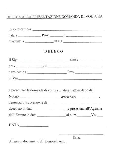 lettere di delega delega presentazione voltura
