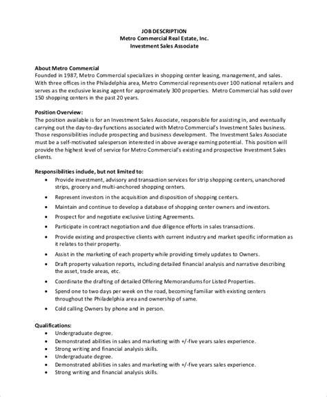 9 Sales Associate Job Description Sles Sle Templates H1b Description With Duties And Percentages Sle Template