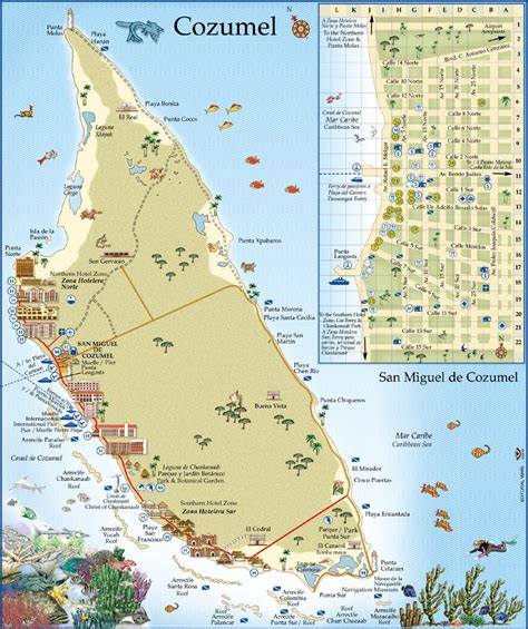 cozumel map from moon travel guides